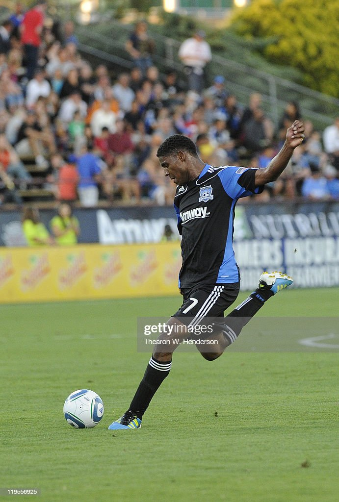 Khari Stephenson dribbles shoots on goal against the Vancouver Whitecaps FC during an MLS soccer game at Buck Shaw Stadium on July 20 2011 in Santa...