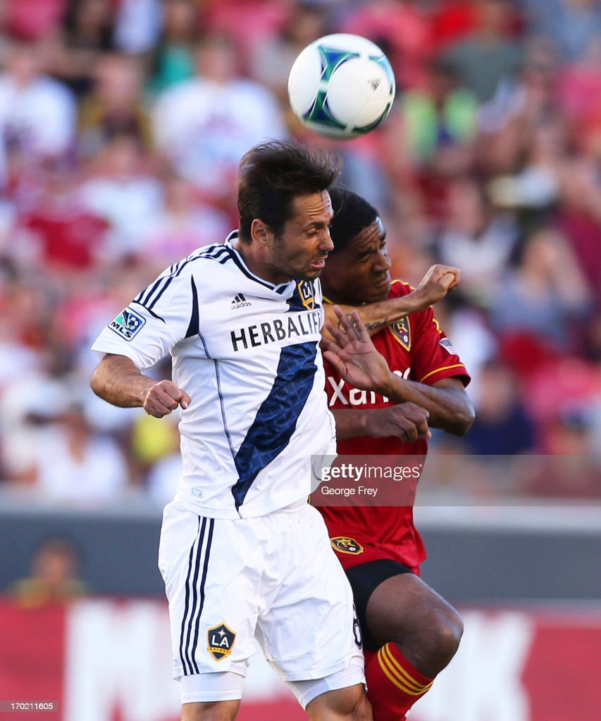 Khari Stephenson of Real Salt Lake and Marcelo Sarvas of the Los Angeles Galaxy fight for the ball during an MLS soccer game June 8 2013 at Rio Tinto...