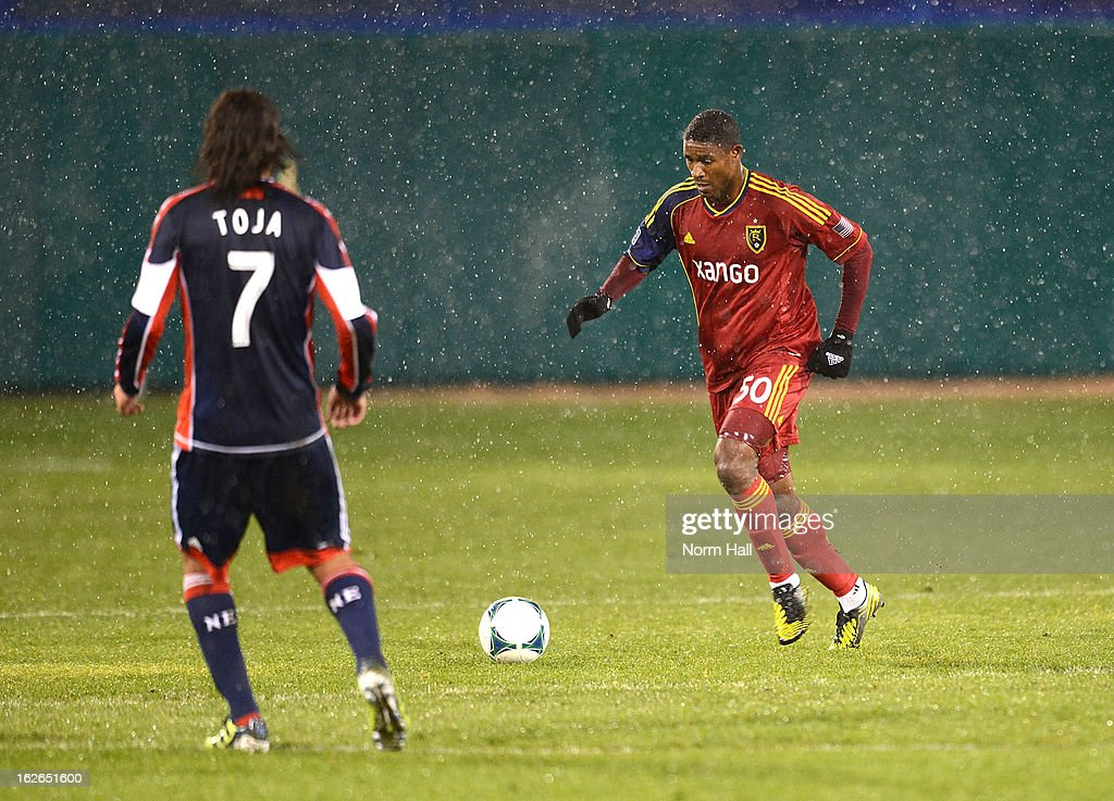 Khari Stephenson of Real Salt Lake brings the ball up field against the New England Revolution at Kino Sports Complex on February 20 2013 in Tucson...