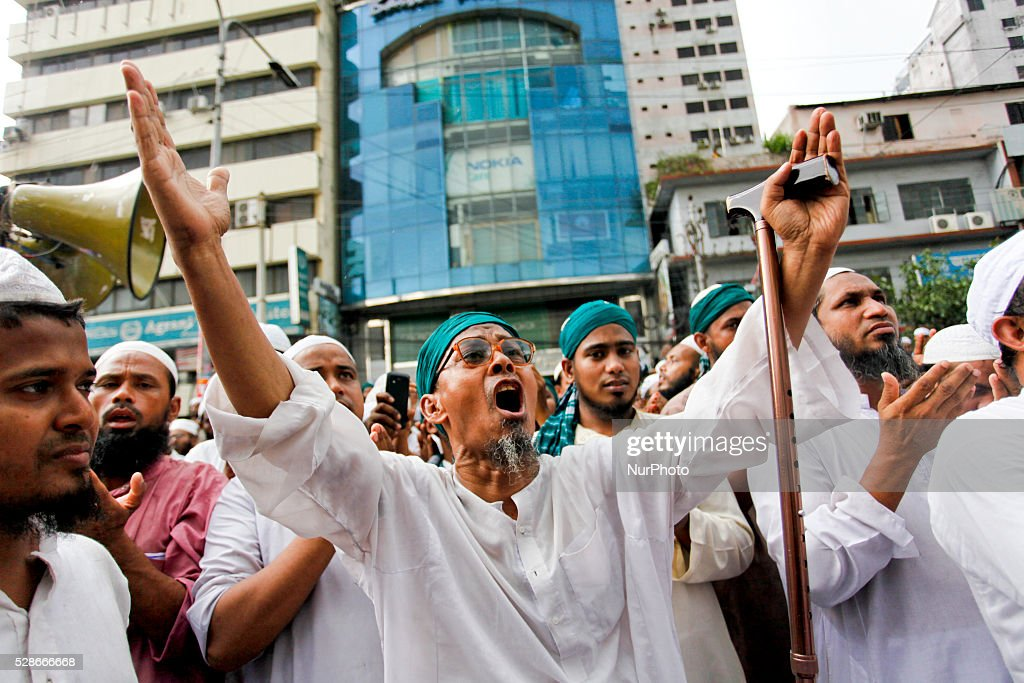Khelafot Andolon Bangladesh (Bangladesh Caliphate Movement) staged a huge rally in front of the countrys national mosque Baitul Mukarrom in Dhaka, Bangladesh, on May 6, 2016, to protest to ban the secular education syllabus and law on Madrasha (religious school for Muslims).