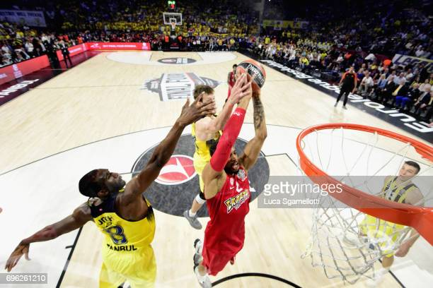 Khem Birch #2 of Olympiacos Piraeus in action during the Championship Game 2017 Turkish Airlines EuroLeague Final Four between Fenerbahce Istanbul v...