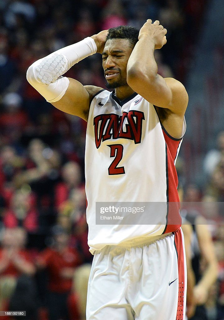 Khem Birch #2 of the UNLV Rebels reacts after his shot put the team up 72-70 against the Nebraska-Omaha Mavericks late in their game at the Thomas & Mack Center on November 15, 2013 in Las Vegas, Nevada. UNLV won 73-70.