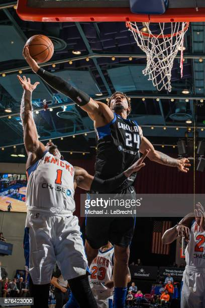Khen Birch of the Lakeland Magic Grabs a rebound against the Westchester Knicks during an NBA GLeague game on November 19 2017 at Westchester County...
