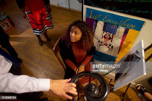 Khia Smith greets Treasury Secretary Jacob Lew during his visit to the residence museum of the opera singer and civil rights activist to discuss her...