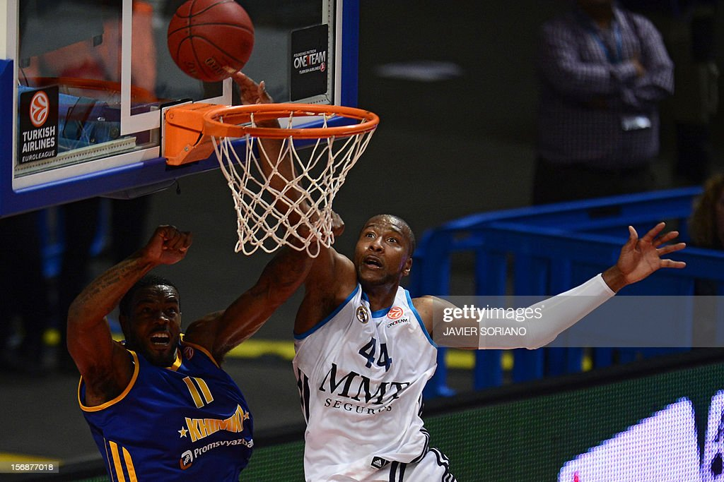 Khimki Moscow's US forward Kelvin Rivers (L) vies with Real Madrid's US forward Marcus Slaughter (R) during the Euroleague basketball match Real Madrid vs BC Khimki Moscow at the Palacio de los Deportes in Madrid on November 23, 2012. AFP PHOTO/ JAVIER SORIANO