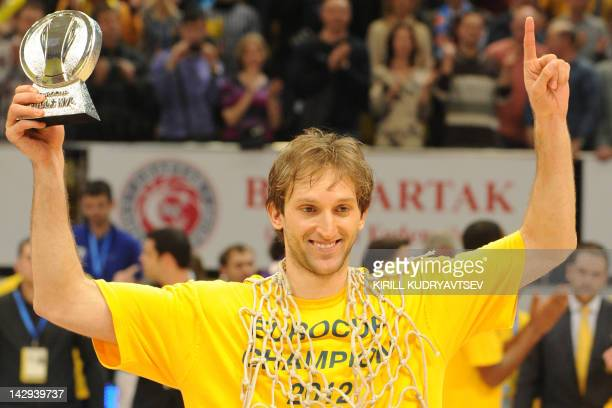 BC Khimki's Zoran Planinic poses with his MVP trophy after winning the Eurocup final basketball match between BC Khimki and Valencia in Khimki...