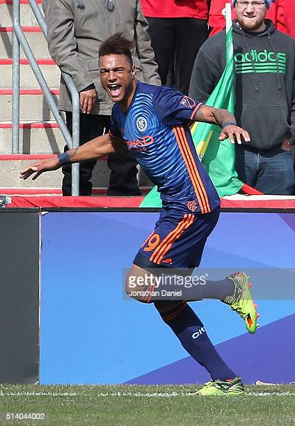 Khiry Shelton of New York City FC celebrates a first half goal against the Chicago Fire at Toyota Park on March 6 2016 in Bridgeview Illinois