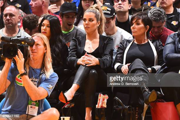 Khloé Kardashian watches the game between the Los Angeles Lakers and the Cleveland Cavaliers on March 19 2017 at STAPLES Center in Los Angeles...