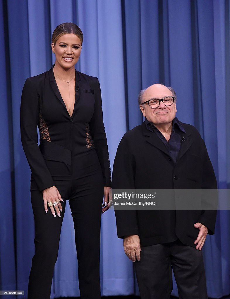 Khloe Kardashian and Danny Devito during a segment on 'The Tonight Show Starring Jimmy Fallon'at Rockefeller Center on January 13, 2016 in New York City.