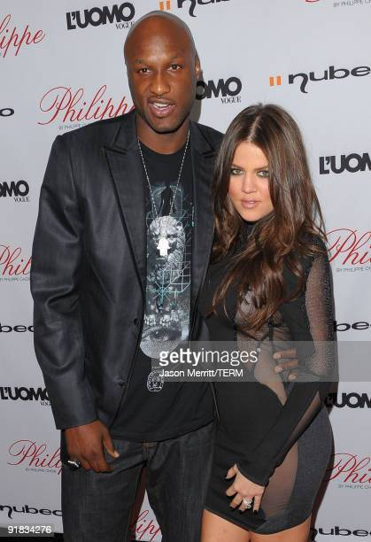 Khloe Kardashian and her husband Lamar Odom arrive at the Philippe Restaurant West Hollywood grand opening on October 12 2009 in West Hollywood...