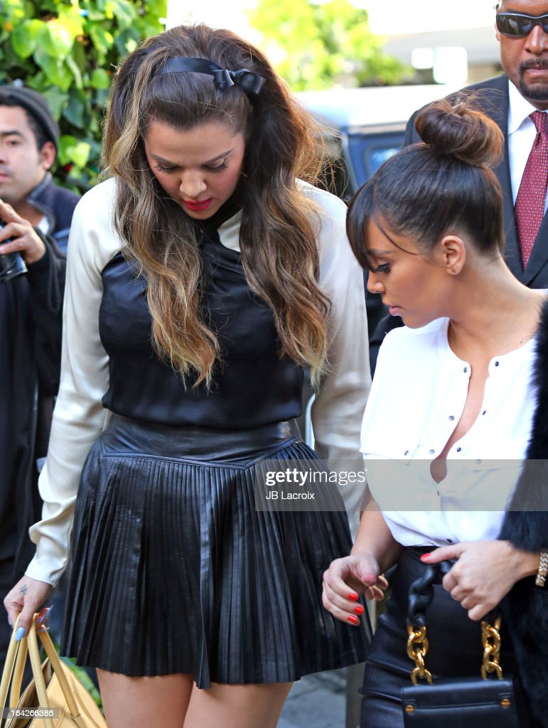 Khloe Kardashian and Kim Kardashian are seen on March 21, 2013 in Los Angeles, California.