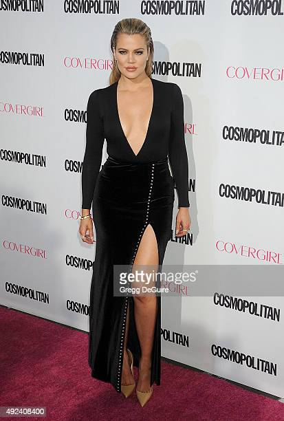 Khloe Kardashian arrives at Cosmopolitan Magazine's 50th Birthday Celebration at Ysabel on October 12 2015 in West Hollywood California