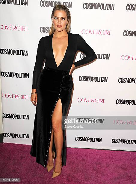 Khloe Kardashian arrives at the Cosmopolitan Magazine's 50th Birthday Celebration at Ysabel on October 12 2015 in West Hollywood California