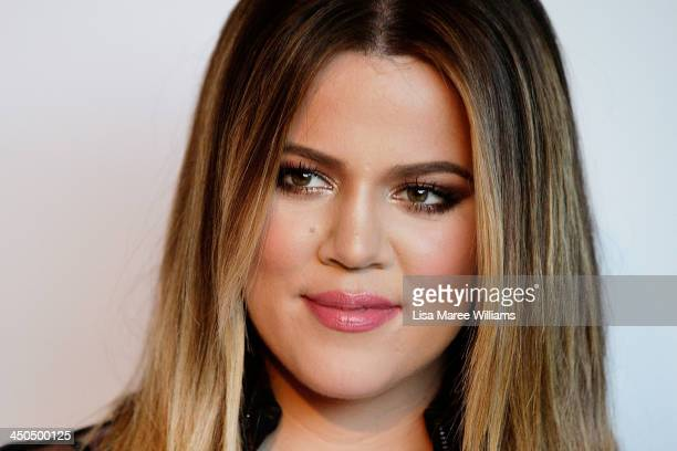 Khloe Kardashian arrives at the Kardashian Kollection cocktail party at the Park Hyatt Guest House on November 19 2013 in Sydney Australia