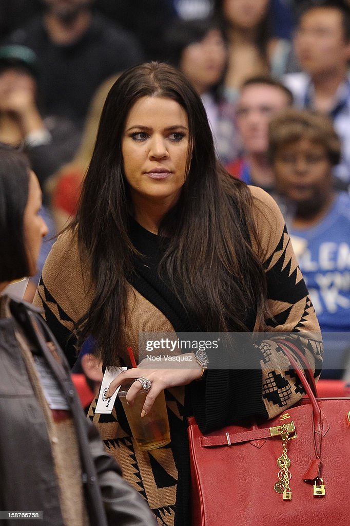 Khloe Kardashian attends a basketball game between the Boston Celtics and the Los Angeles Clippers at Staples Center on December 27, 2012 in Los Angeles, California.
