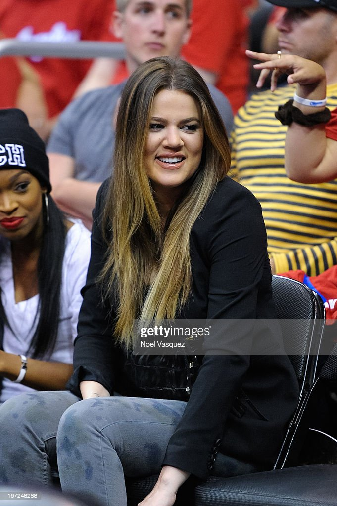 <a gi-track='captionPersonalityLinkClicked' href=/galleries/search?phrase=Khloe+Kardashian&family=editorial&specificpeople=3955023 ng-click='$event.stopPropagation()'>Khloe Kardashian</a> attends a playoff basketball game between the Memphis Grizzlies and the Los Angeles Clippers at Staples Center on April 22, 2013 in Los Angeles, California.