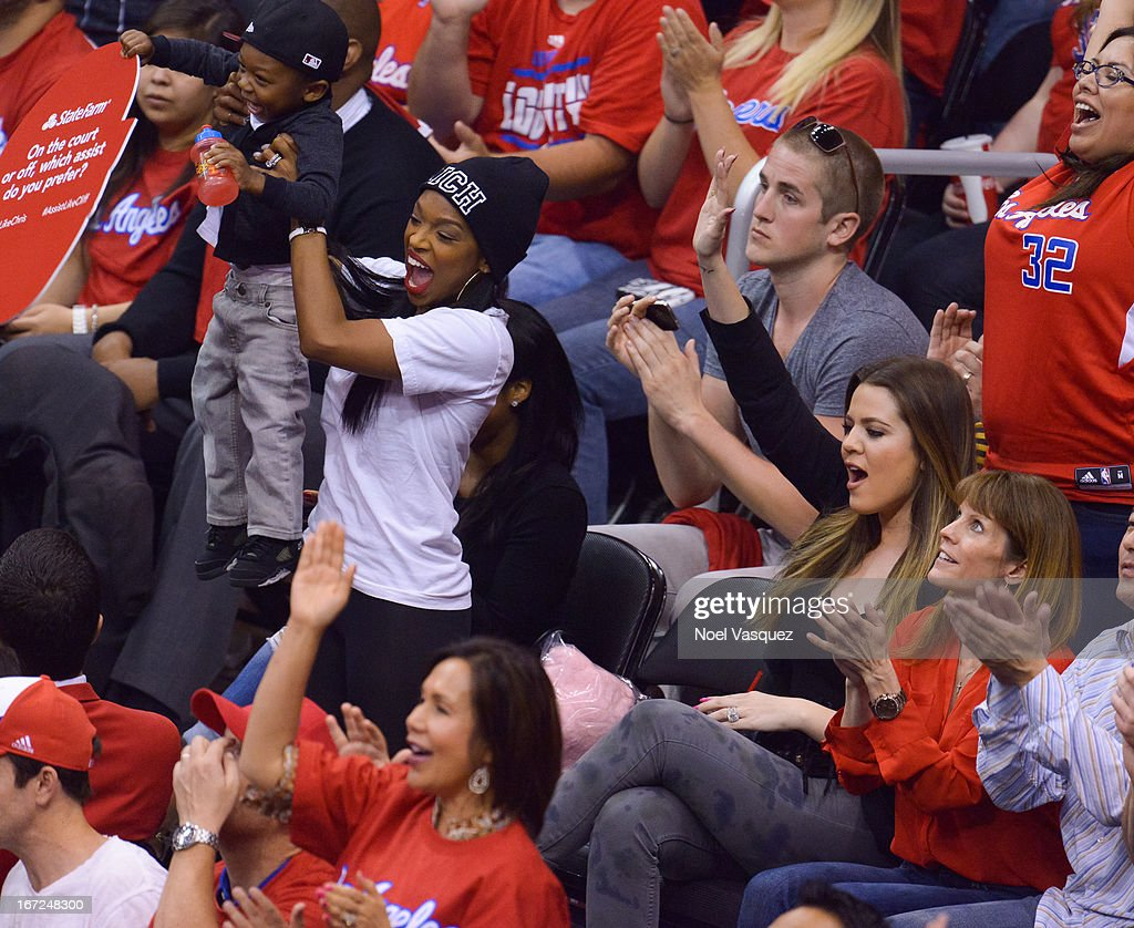 <a gi-track='captionPersonalityLinkClicked' href=/galleries/search?phrase=Khloe+Kardashian&family=editorial&specificpeople=3955023 ng-click='$event.stopPropagation()'>Khloe Kardashian</a> (R) attends a playoff basketball game between the Memphis Grizzlies and the Los Angeles Clippers at Staples Center on April 22, 2013 in Los Angeles, California.