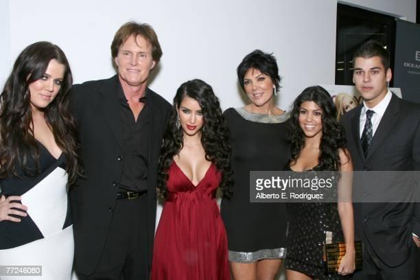 Khloe Kardashian former Olympian Bruce Jenner TV personality Kimberly Kardashian Kris Jenner Kourtney Kardashian and Robert Kardashian arrive at the...