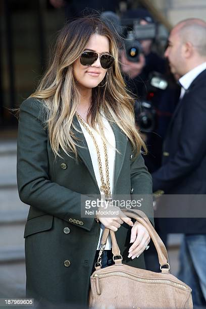 Khloe Kardashian is pictured arriving at The Langham Hotel to launch the Kardashian clothing line with Lipsy on November 14 2013 in London England