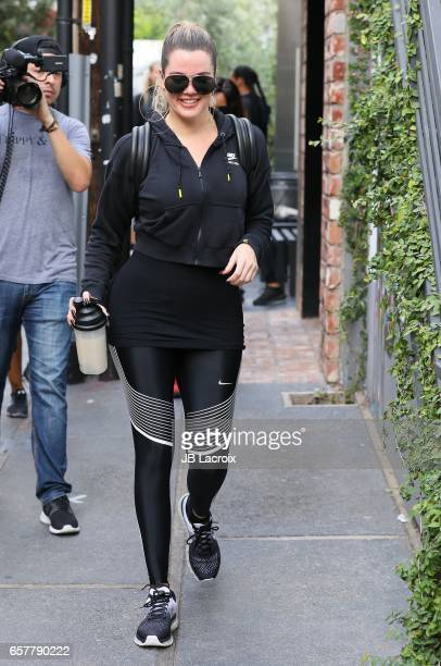 Khloe Kardashian is seen at Cycle House on March 25 2017 in Los Angeles California