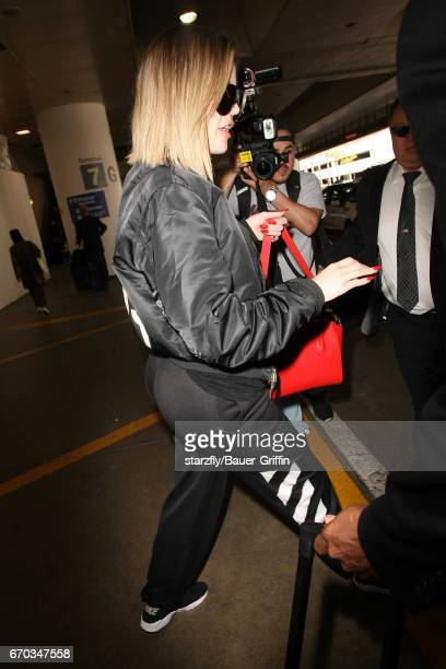 Khloe Kardashian is seen at LAX on April 19 2017 in Los Angeles California