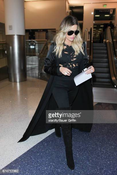 Khloe Kardashian is seen at LAX on April 28 2017 in Los Angeles California