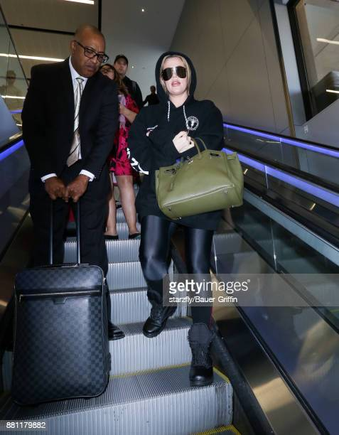 Khloe Kardashian is seen at LAX on November 28 2017 in Los Angeles California