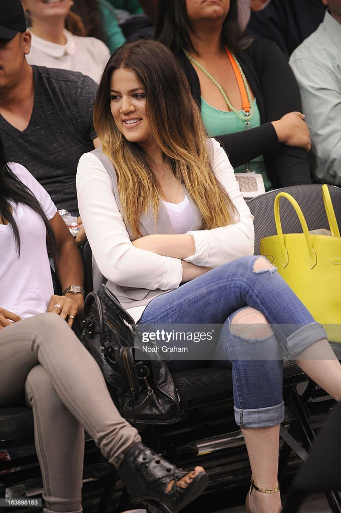 Khloe Kardashian is seen courtside during the game between the Los Angeles Clippers and the New York Knicks at Staples Center on March 17, 2013 in Los Angeles, California.