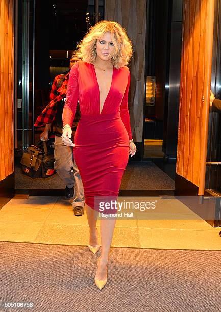 Khloe Kardashian is seen walking in Soho in a 'Red Dress' on January 15 2016 in New York City