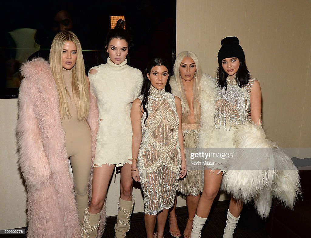 <a gi-track='captionPersonalityLinkClicked' href=/galleries/search?phrase=Khloe+Kardashian&family=editorial&specificpeople=3955023 ng-click='$event.stopPropagation()'>Khloe Kardashian</a>, <a gi-track='captionPersonalityLinkClicked' href=/galleries/search?phrase=Kendall+Jenner&family=editorial&specificpeople=2786662 ng-click='$event.stopPropagation()'>Kendall Jenner</a>, <a gi-track='captionPersonalityLinkClicked' href=/galleries/search?phrase=Kourtney+Kardashian&family=editorial&specificpeople=3955024 ng-click='$event.stopPropagation()'>Kourtney Kardashian</a>, <a gi-track='captionPersonalityLinkClicked' href=/galleries/search?phrase=Kim+Kardashian&family=editorial&specificpeople=753387 ng-click='$event.stopPropagation()'>Kim Kardashian</a> West and <a gi-track='captionPersonalityLinkClicked' href=/galleries/search?phrase=Kylie+Jenner&family=editorial&specificpeople=870409 ng-click='$event.stopPropagation()'>Kylie Jenner</a> attend Kanye West Yeezy Season 3 at Madison Square Garden on February 11, 2016 in New York City.