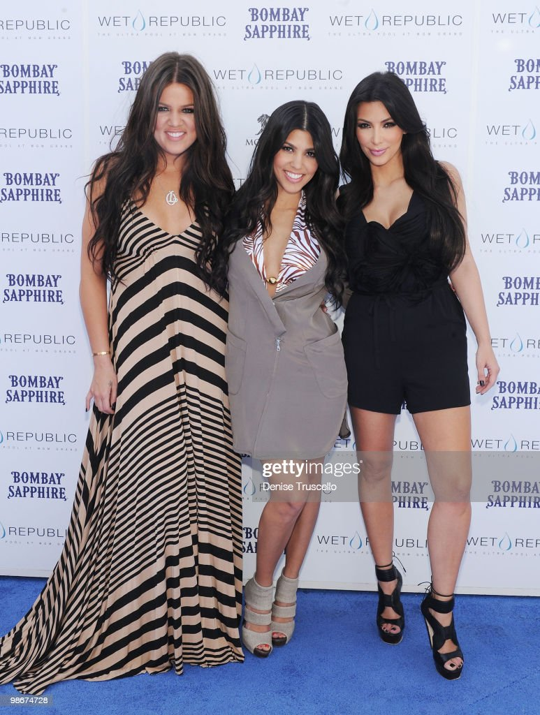 Khloe Kardashian, Kourtney Kardashian and Kim Kardashian arrive at Wet Republic on April 24, 2010 in Las Vegas, Nevada.
