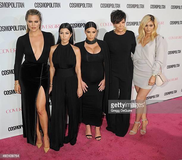 Khloe Kardashian Kourtney Kardashian Kim Kardashian Kris Jenner and Kylie Jenner arrive at Cosmopolitan Magazine's 50th Birthday Celebration at...