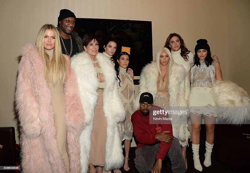 Khloe Kardashian, Lamar Odom, Kris Jenner Kendall Jenner, Kourtney Kardashian, Kanye West, Kim Kardashian West, Caitlyn Jenner, Kylie Jenner attend Kanye West Yeezy Season 3 at Madison Square Garden on February 11, 2016 in New York City.