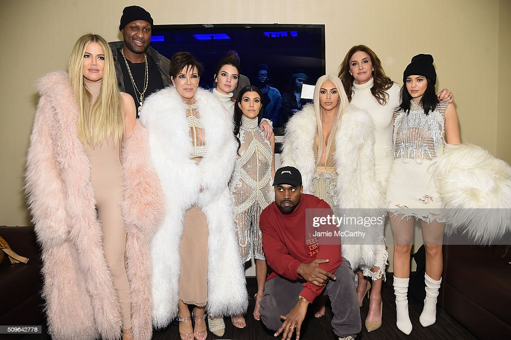 Khloe Kardashian, Lamar Odom, Kris Jenner, Kendall Jenner, Kourtney Kardashian, Kanye West, Kim Kardashian, Caitlin Jenner and Kylie Jenner attend Kanye West Yeezy Season 3 on February 11, 2016 in New York City.