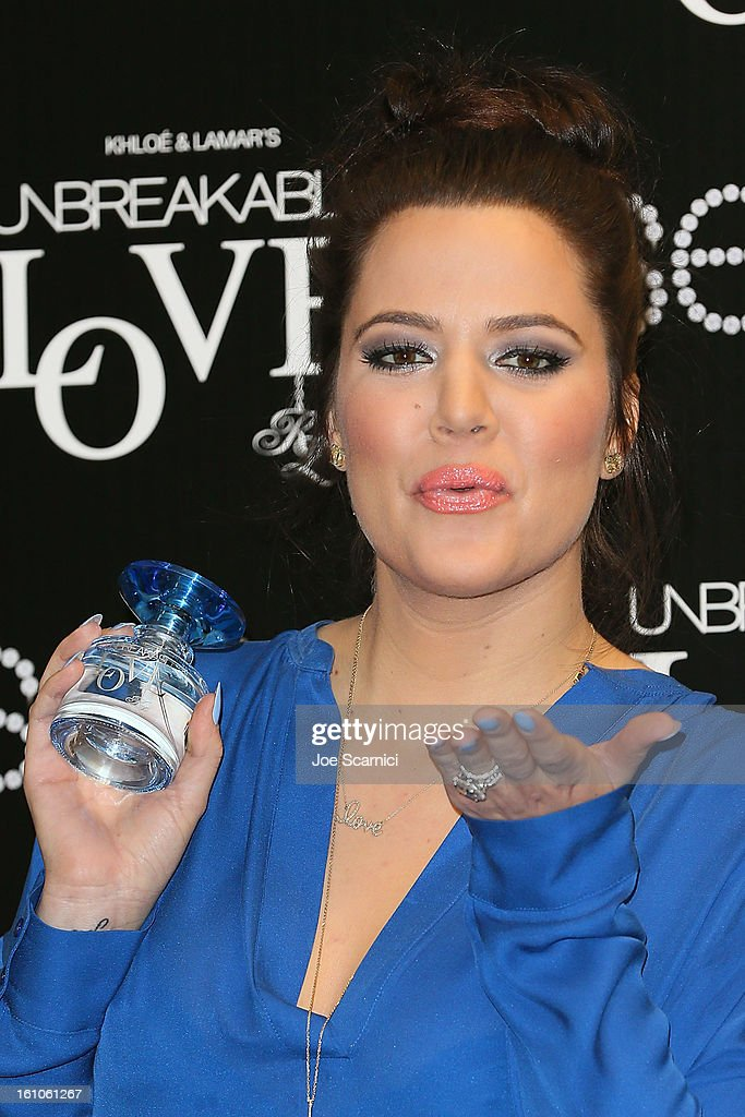 <a gi-track='captionPersonalityLinkClicked' href=/galleries/search?phrase=Khloe+Kardashian&family=editorial&specificpeople=3955023 ng-click='$event.stopPropagation()'>Khloe Kardashian</a> launches 'Unbreakable Love' Fragrance at Sears on February 8, 2013 in Downey, California.