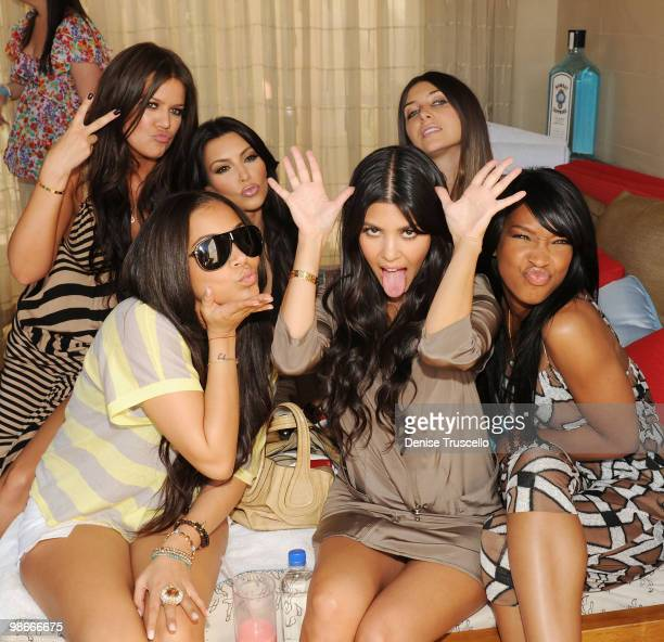 Khloe Kardashian Lauren London Kim Kardashian Kourtney Kardashian Brittny Gastineau and Malika Haqq attend Wet Republic on April 24 2010 in Las Vegas...