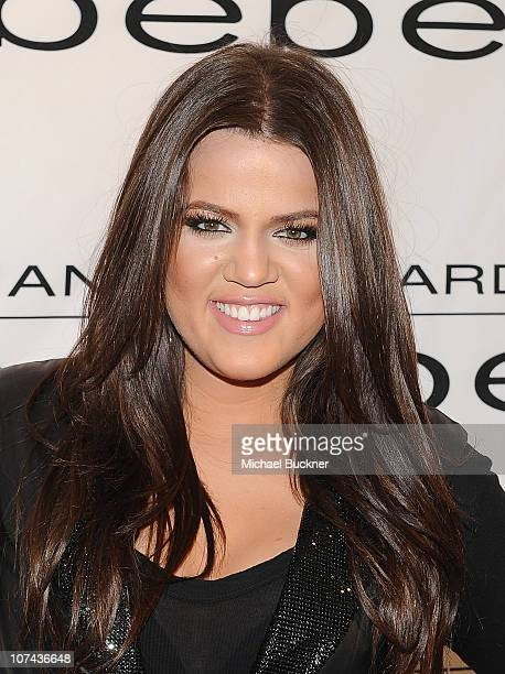 Khloe Kardashian Odom arrives at an instore appearance celebrating the 'Kardashian by bebe' holiday and resort collections at the bebe Beverly Center...