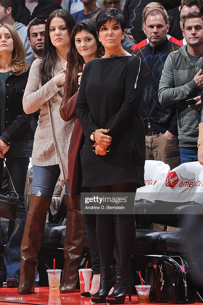 Khloe Kardashian Odom, left, Kylie Jenner, center, and Kris Jenner attend a game between the New Orleans Hornets and Los Angeles Clippers at Staples Center on November 26, 2012 in Los Angeles, California.