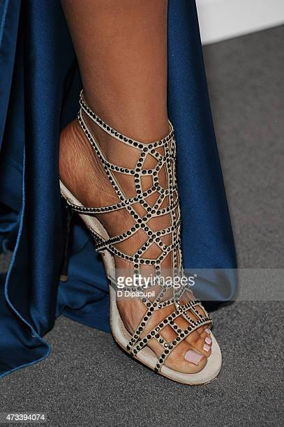 Khloe Kardashian shoe detail attends the 2015 NBCUniversal Cable Entertainment Upfront at The Jacob K Javits Convention Center on May 14 2015 in New...