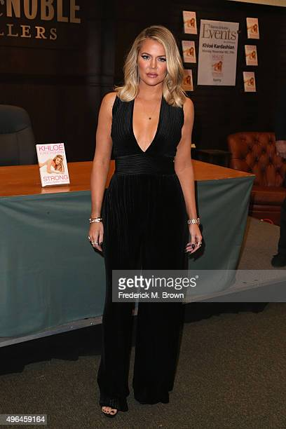 Khloe Kardashian signs and discusses her new book 'Strong Looks Better Naked' at Barnes Noble at The Grove on November 9 2015 in Los Angeles...