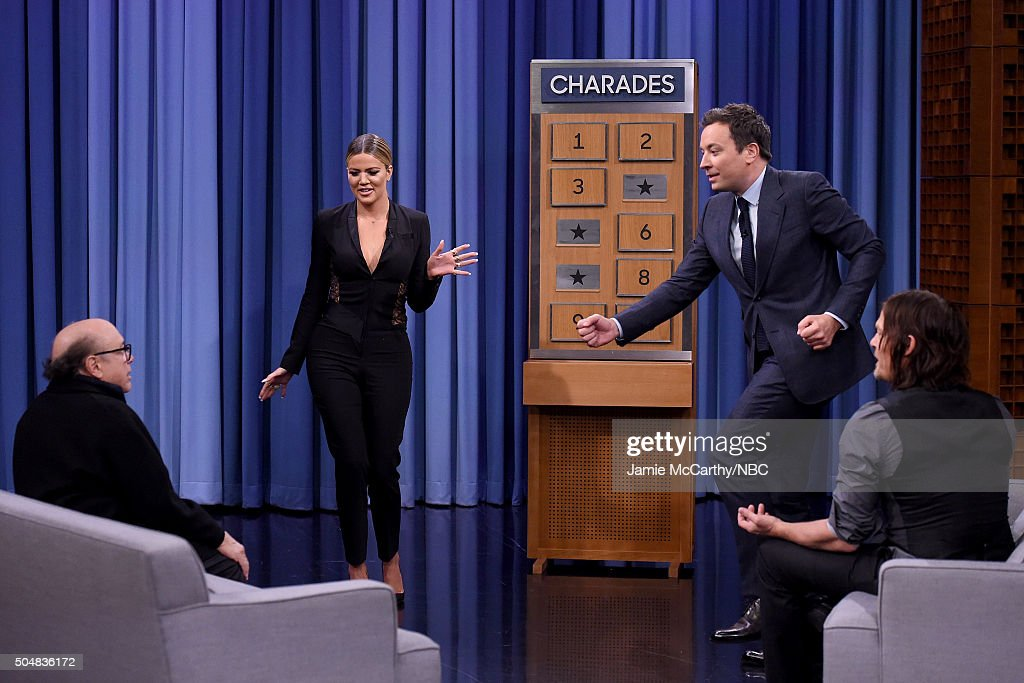 Khloe Kardashian,Danny Devito , Jimmy Fallon and Norman Reedus play charades during a segment on 'The Tonight Show Starring Jimmy Fallon'at Rockefeller Center on January 13, 2016 in New York City.