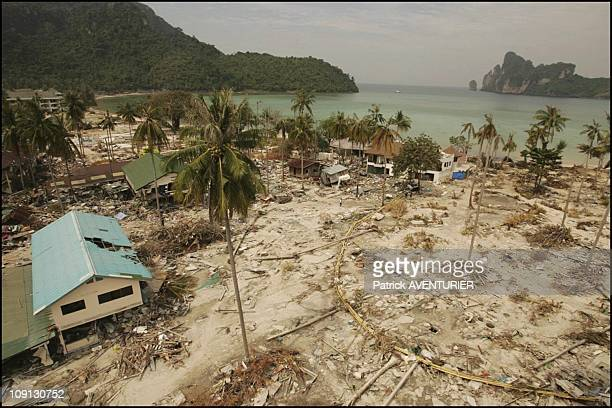 Kho Phi Phi Island Devastated By Tidal Wave That Struck Seven Countries After Powerful Dec 26 Earthquake Off Sumatra On December 30 2004 In Thailand