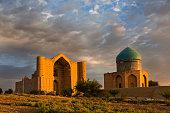 Khoja Ahmed Yasawi Mausoleum at the sunrise, in Turkestan, Kazakhstan.