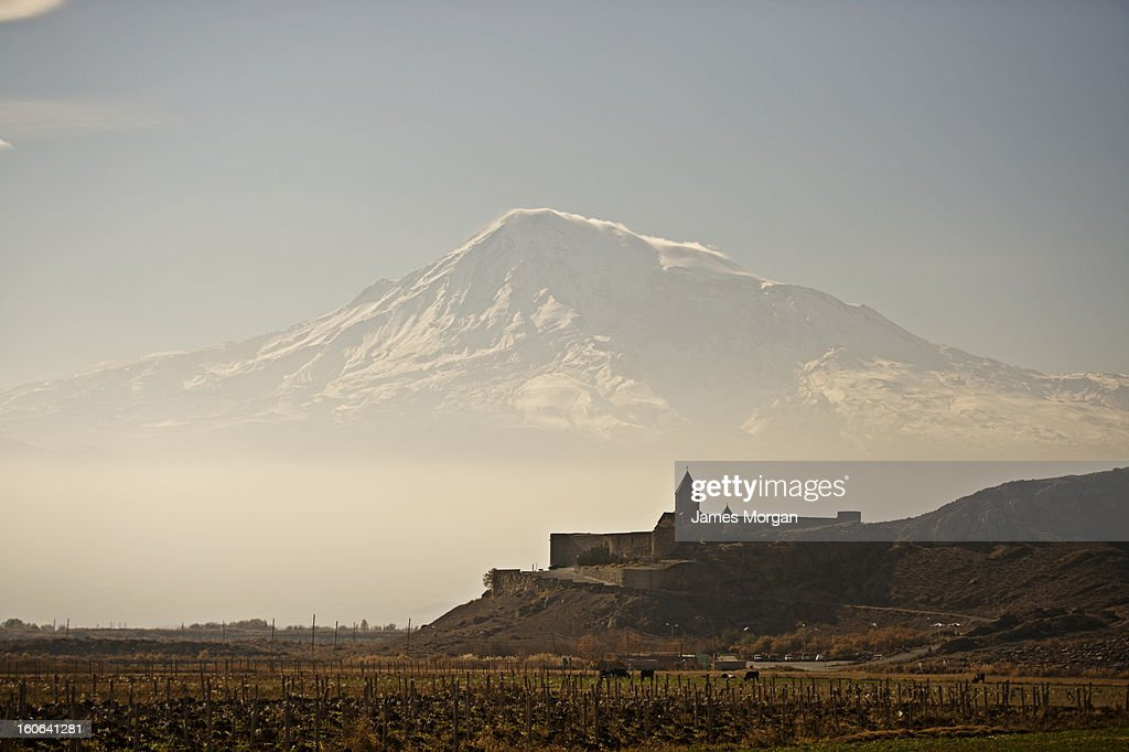 Khor Virap monastery with Mount Ararat behind : Stock Photo