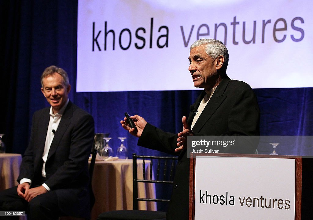 Khosla Ventures founder Vinod Khosla (R) speaks as former British Prime Minister <a gi-track='captionPersonalityLinkClicked' href=/galleries/search?phrase=Tony+Blair&family=editorial&specificpeople=118622 ng-click='$event.stopPropagation()'>Tony Blair</a> looks on during the Khosla Ventures Cleantech Discussion May 24, 2010 in Sausalito, California. Khosla Ventures founder Vinod Khosla announced today that <a gi-track='captionPersonalityLinkClicked' href=/galleries/search?phrase=Tony+Blair&family=editorial&specificpeople=118622 ng-click='$event.stopPropagation()'>Tony Blair</a> Associates will serve as special advisors to Khosla Ventures to advocate for environmental issues and use their global relationships to assist Khosla's broad portfolio of clean technology companies maximize their effectiveness in achieving their environmental goals.