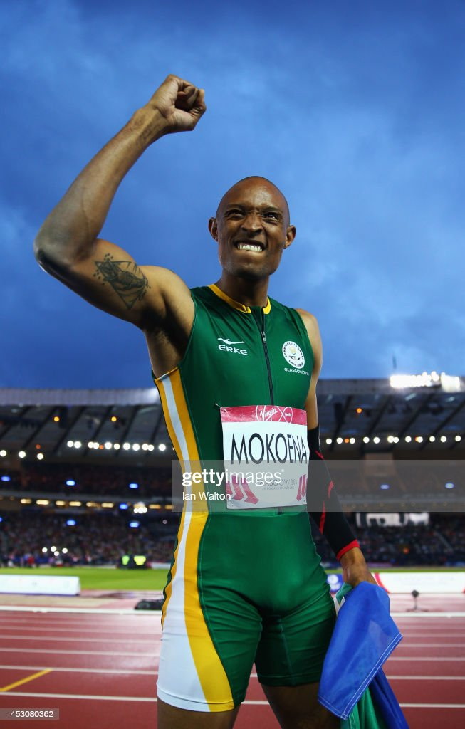Khotso Mokoena of South Africa celebrates winning gold in the Men's Triple Jump Final at Hampden Park during day ten of the Glasgow 2014 Commonwealth Games on August 2, 2014 in Glasgow, United Kingdom.