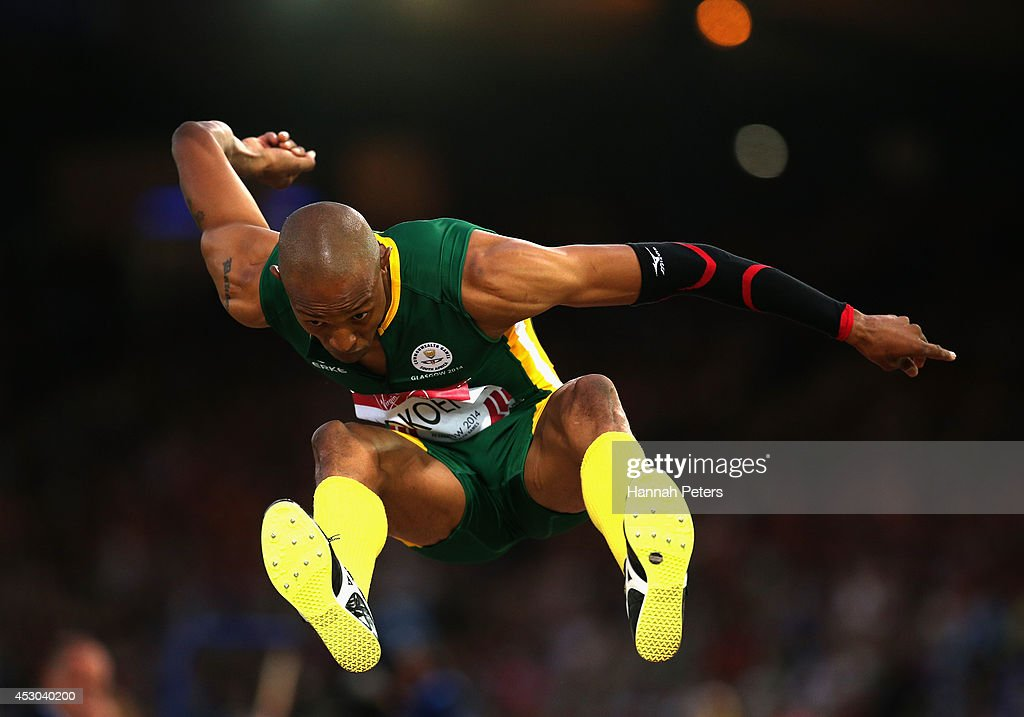 Khotso Mokoena of South Africa competes in the Men's Triple Jump qualification at Hampden Park during day nine of the Glasgow 2014 Commonwealth Games on August 1, 2014 in Glasgow, United Kingdom.