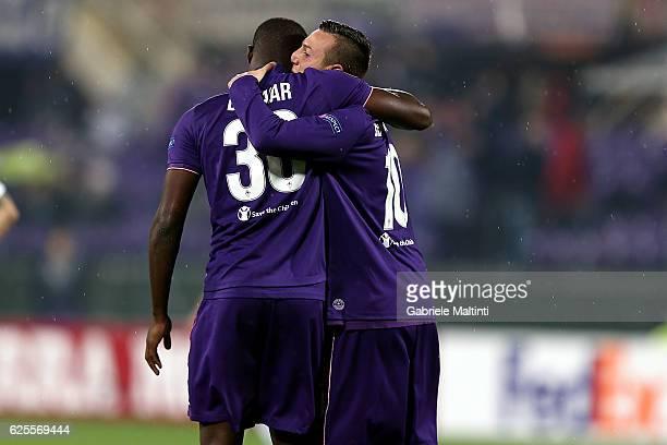 Khouma Babacar and Federico Bernardeschi of ACF Fiorentina celebrates after scoring a goal during the UEFA Europa League match between ACF Fiorentina...