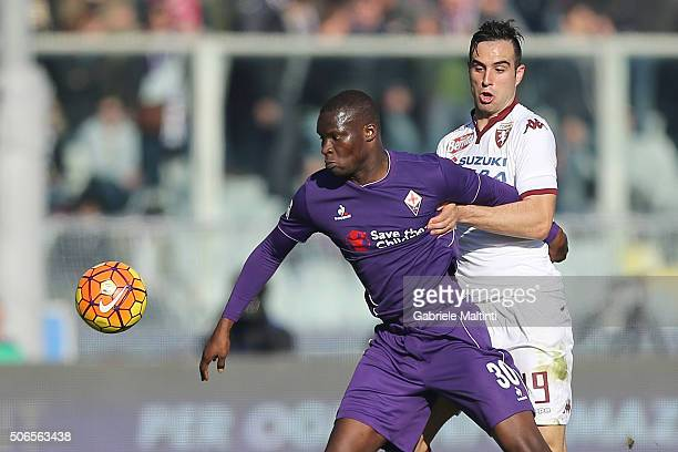 Khouma Babacar of ACF Fiorentina battles for the ball with Nikola Maksimovic of Torino Fc during the Serie A match between ACF Fiorentina and Torino...