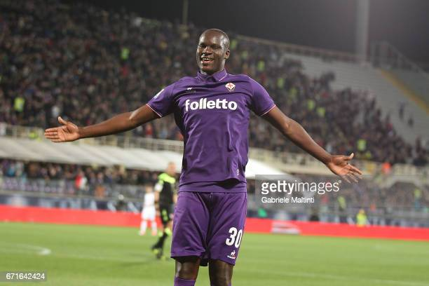Khouma Babacar of ACF Fiorentina celebrates after scoring a goal during the Serie A match between ACF Fiorentina v FC Internazionale at Stadio...